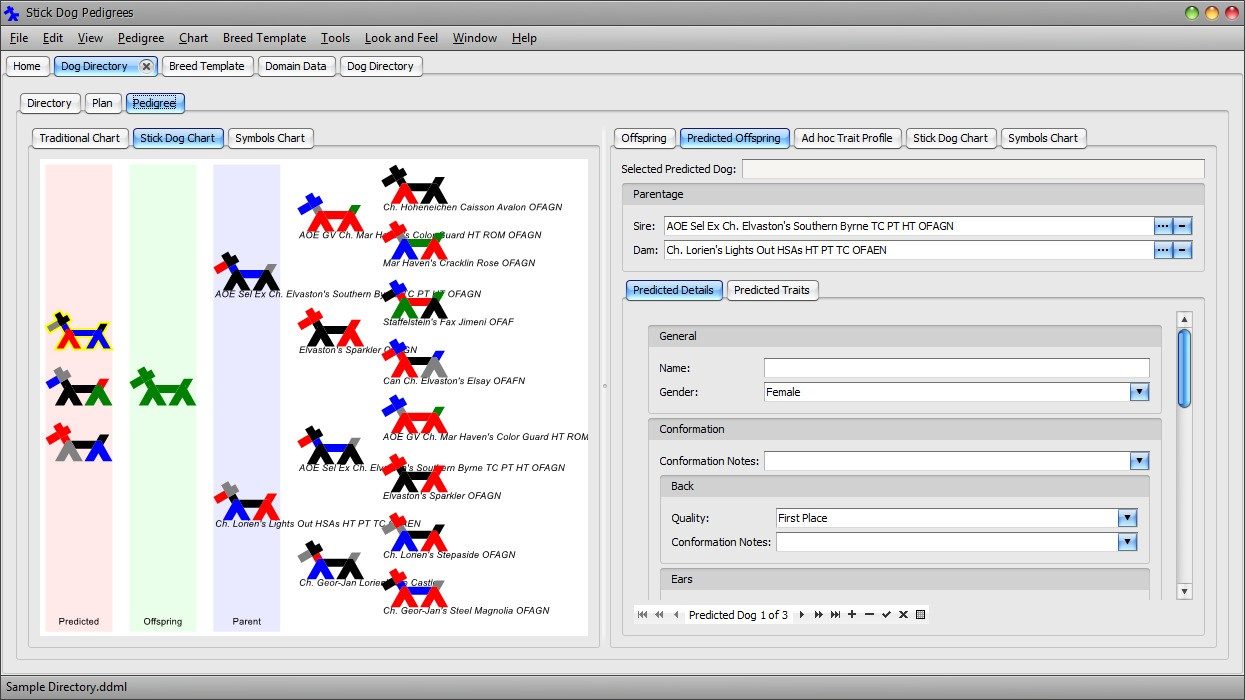 The Stickdog Pedigrees Program showing the Dog Directory form - Traditional Chart and Offspring panels