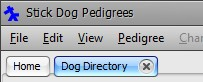 The Stickdog Pedigrees Program showing the Close the Dog Directory Button