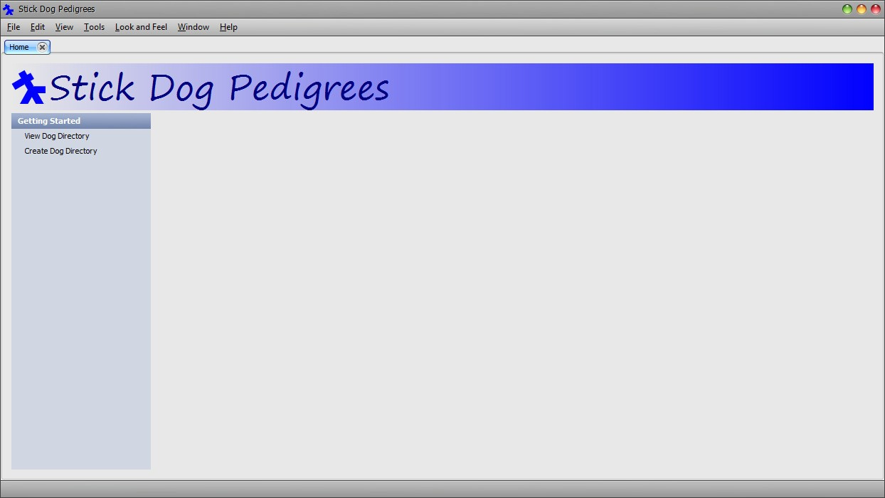 The Stickdog Pedigrees Program showing the Home screen