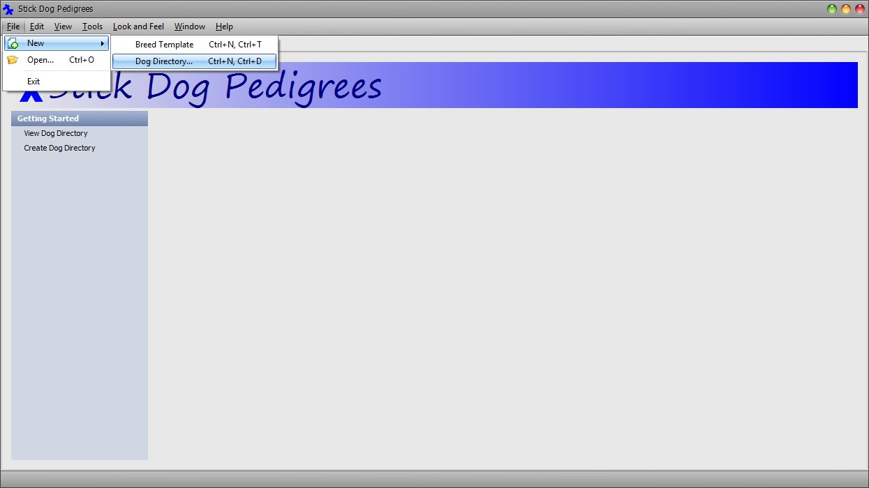 The Stickdog Pedigrees Program showing the creating a new dog directory document