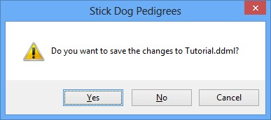 The Stickdog Pedigrees Program showing the Save Pending Changes Dialog Box
