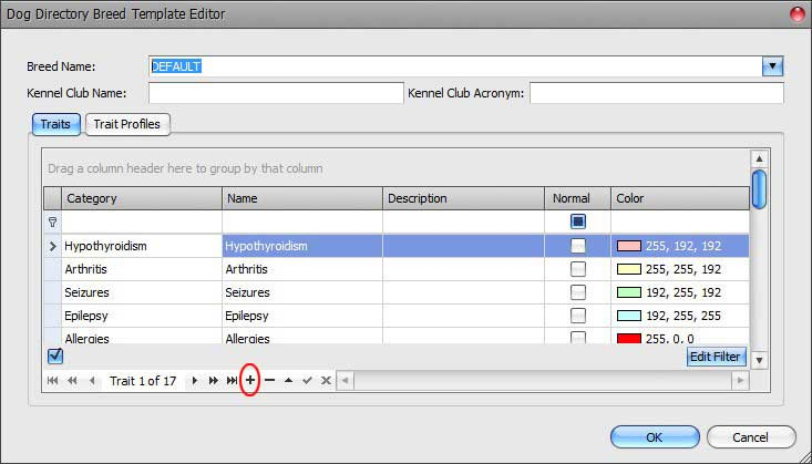 TEmplate Editor Append Trait Record